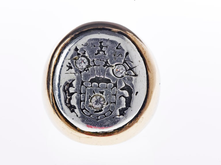 Brilliant Cut Aquamarine Crest Signet Ring Sterling Silver Bronze J Dauphin For Sale