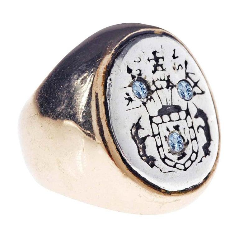 Aquamarine Crest Signet Ring Sterling Silver Bronze J Dauphin For Sale