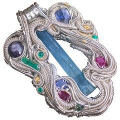 Aquamarine Crystal Star Ruby Emerald Tanzanite Wire Wrapped Silver Pendant