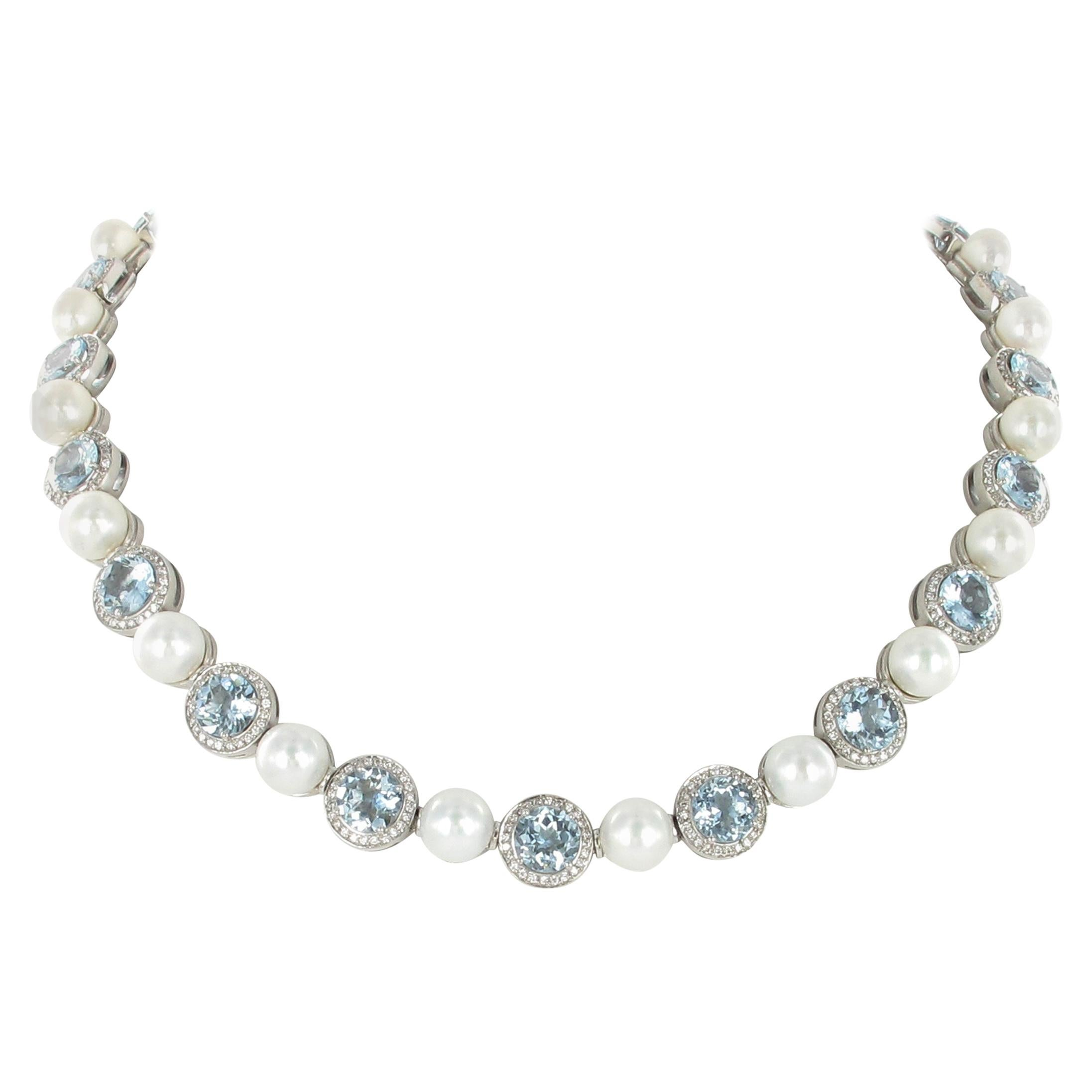 Aquamarine, Cultured Pearls and Diamond Necklace in Gold