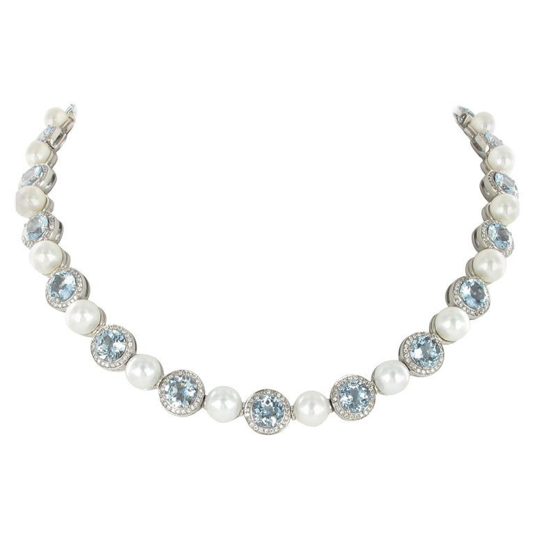 Aquamarine, Cultured Pearls and Diamond Necklace in Gold For Sale