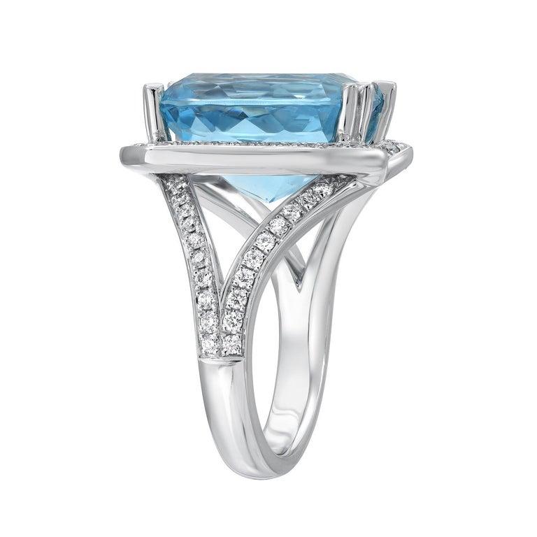 Modern Aquamarine Ring Cushion Diamond White Gold Cocktail Ring 8.95 Carat For Sale