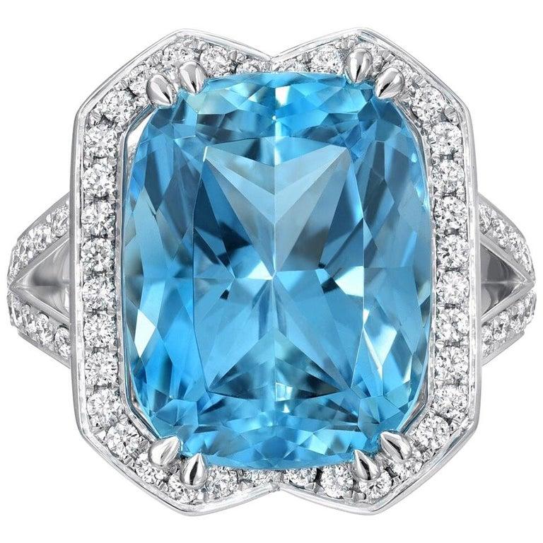 Aquamarine Ring Cushion Diamond White Gold Cocktail Ring 8.95 Carat For Sale