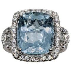Aquamarine Cushion Fancy Ring with White Diamond
