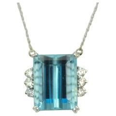 Aquamarine Diamond 14 Karat White Gold Necklace