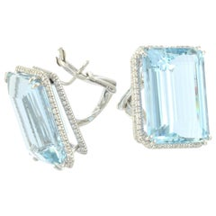 Aquamarine Diamond 18 Karat White Gold Clip Earrings Made in Italy