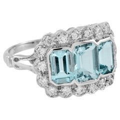 Aquamarine Diamond 18 Karat White Gold Cocktail Ring