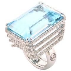 Aquamarine Diamond 18 Karat White Gold Cocktail Made in Italy Ring