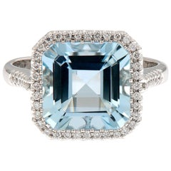 Aquamarine Diamond 18 Karat White Gold Cocktail Ring