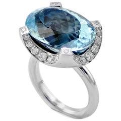 Aquamarine Diamond 18 KT White Gold Made in Italy Contemporary Design Ring