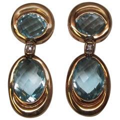 Aquamarine Diamond 18 Karat Yellow Gold Earrings