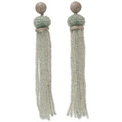 Aquamarine, Diamond and 18 Karat White Gold Tassel Chandelier Earrings
