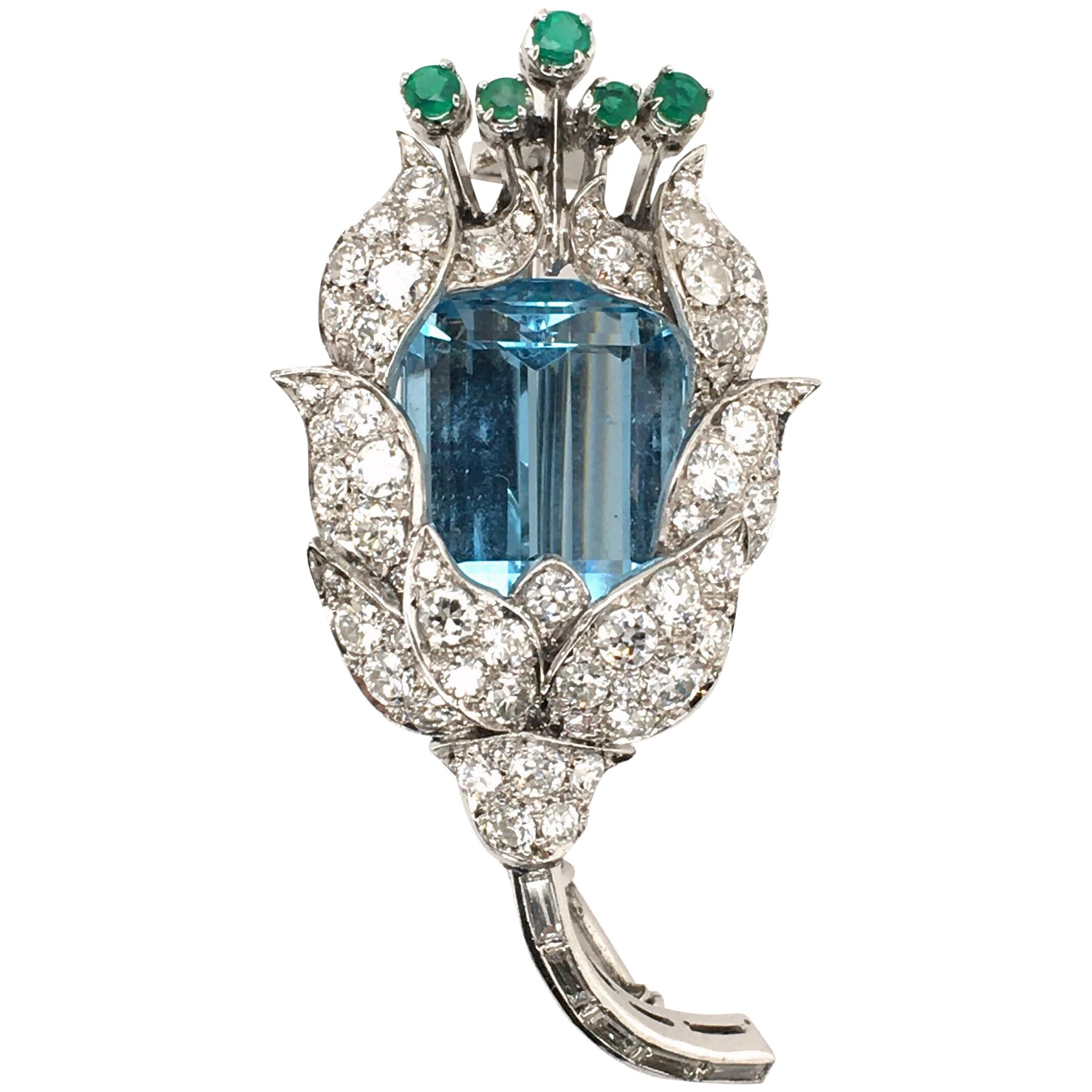 Aquamarine, Diamond and Emerald Flower Brooch