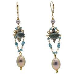 Aquamarine, Diamond and Pearl Earrings
