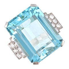 Aquamarine, Diamond, and Platinum Ring
