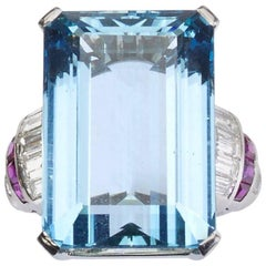 Aquamarine, Diamond and Ruby Ring