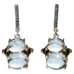 Aquamarine, Diamond and Sapphire Drop Earrings