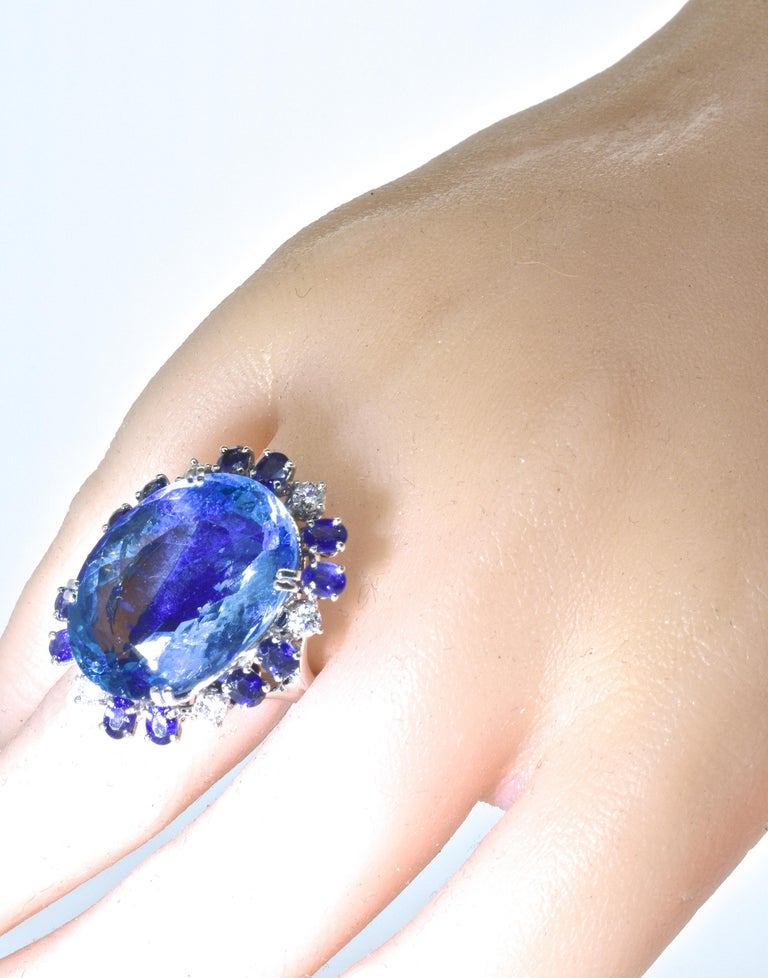Aquamarine, Diamond and Sapphire French Ring For Sale 6