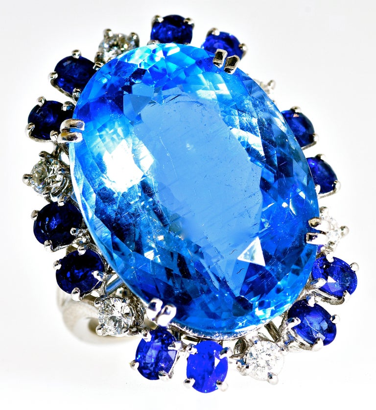 Contemporary Aquamarine, Diamond and Sapphire French Ring For Sale