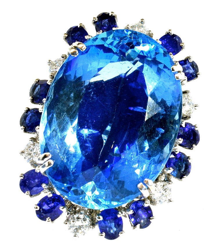 Aquamarine, Diamond and Sapphire French Ring In Excellent Condition For Sale In Aspen, CO