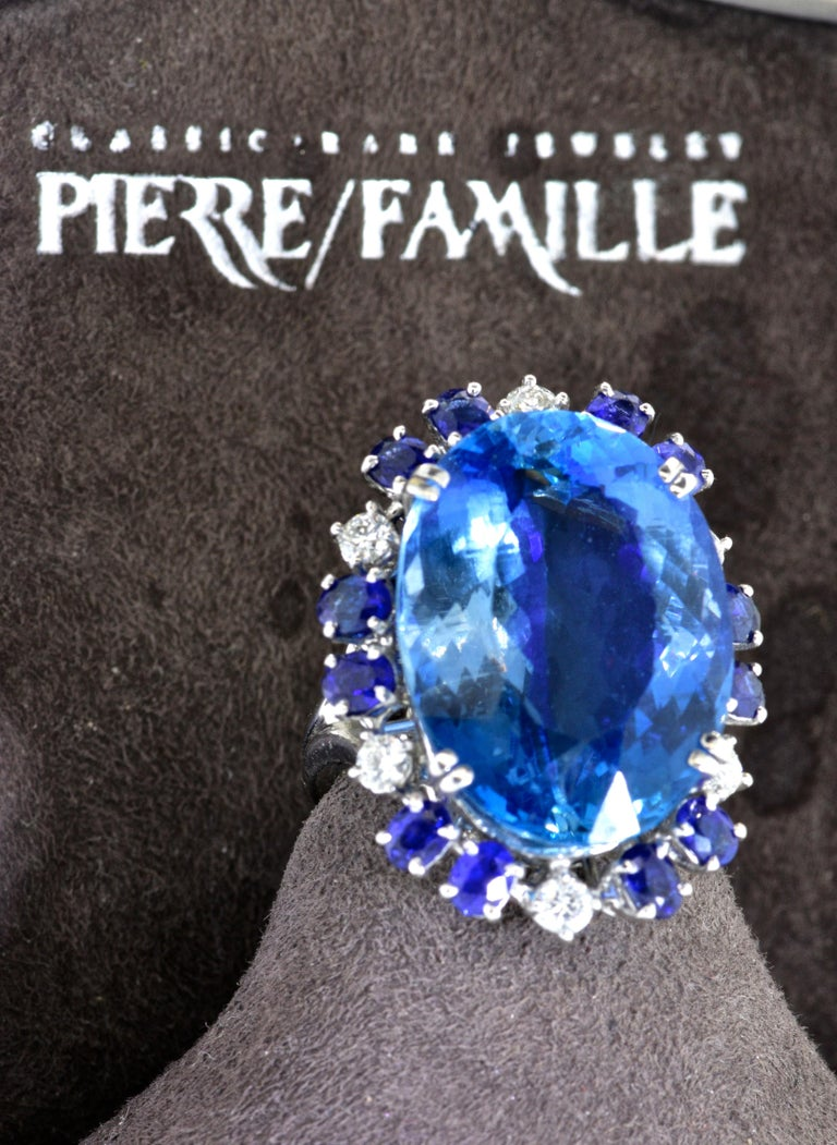 Aquamarine, Diamond and Sapphire French Ring For Sale 1