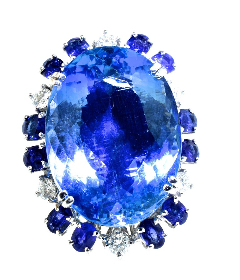 Aquamarine, Diamond and Sapphire French Ring For Sale 2