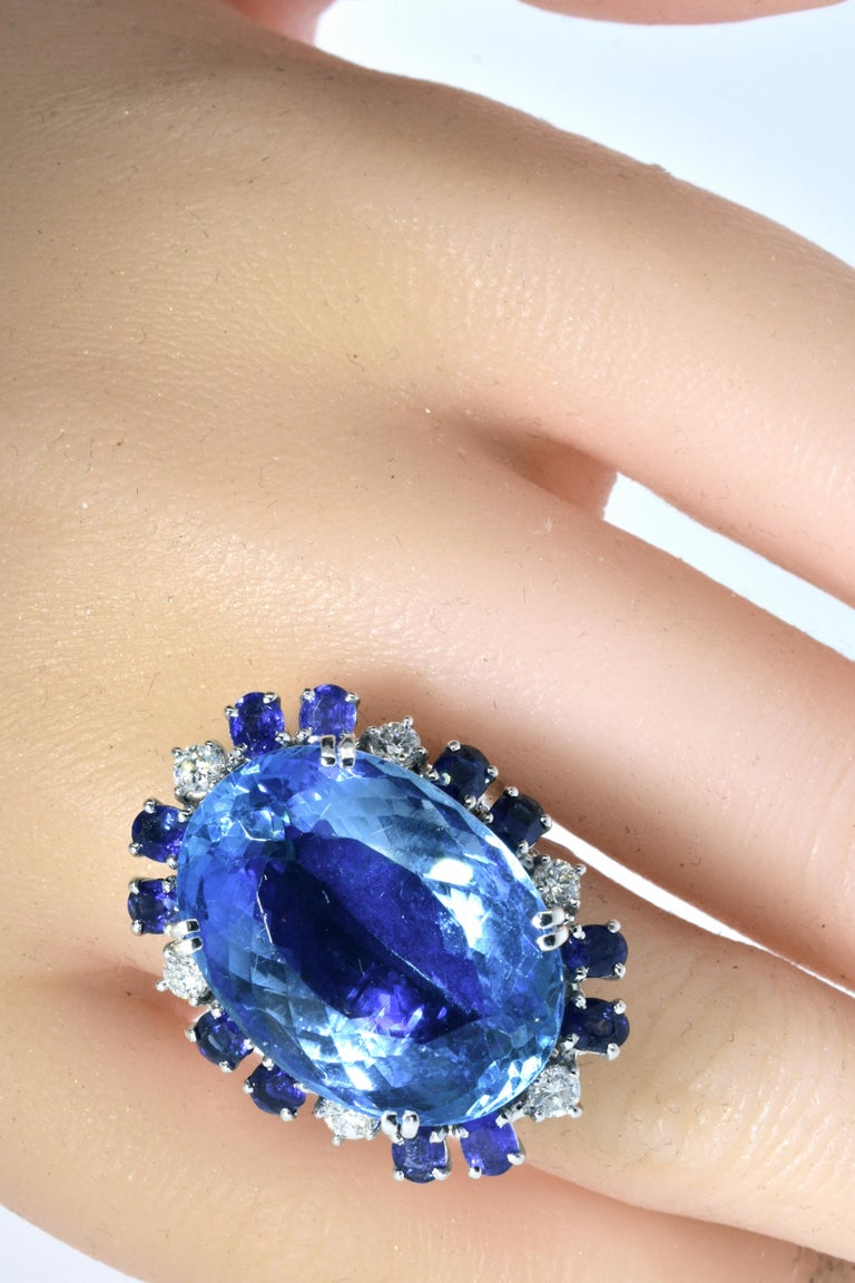 Aquamarine, Diamond and Sapphire French Ring For Sale 4