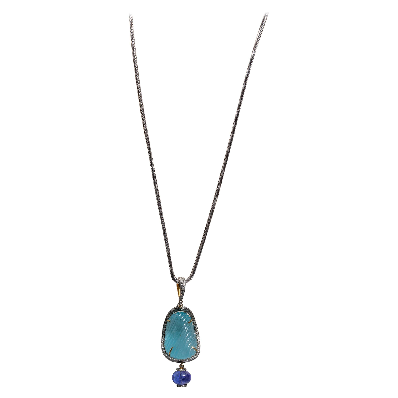 Aquamarine, Diamond and Tanzanite Long Pendant Necklace