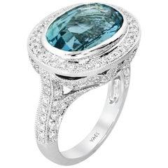Aquamarine Diamond and White Gold Ring