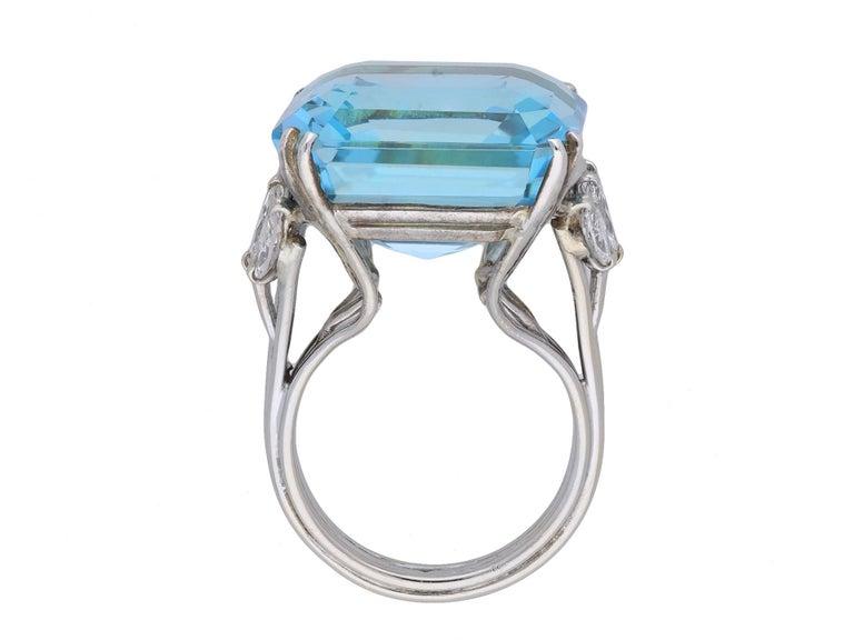 Emerald Cut Aquamarine and Diamond Cocktail Ring, circa 1970 For Sale
