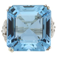 Aquamarine and Diamond Cocktail Ring, circa 1970