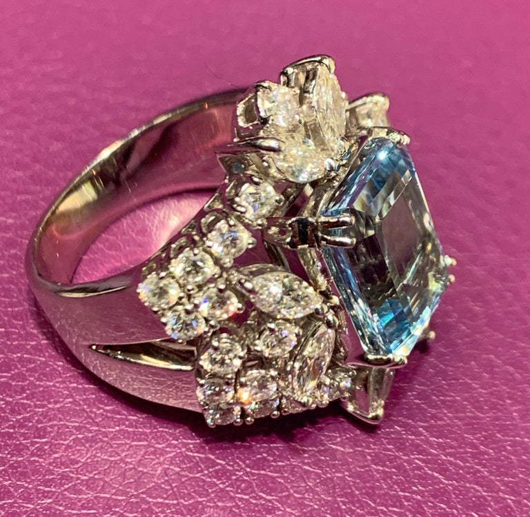 Women's Aquamarine and Diamond Cocktail Ring For Sale