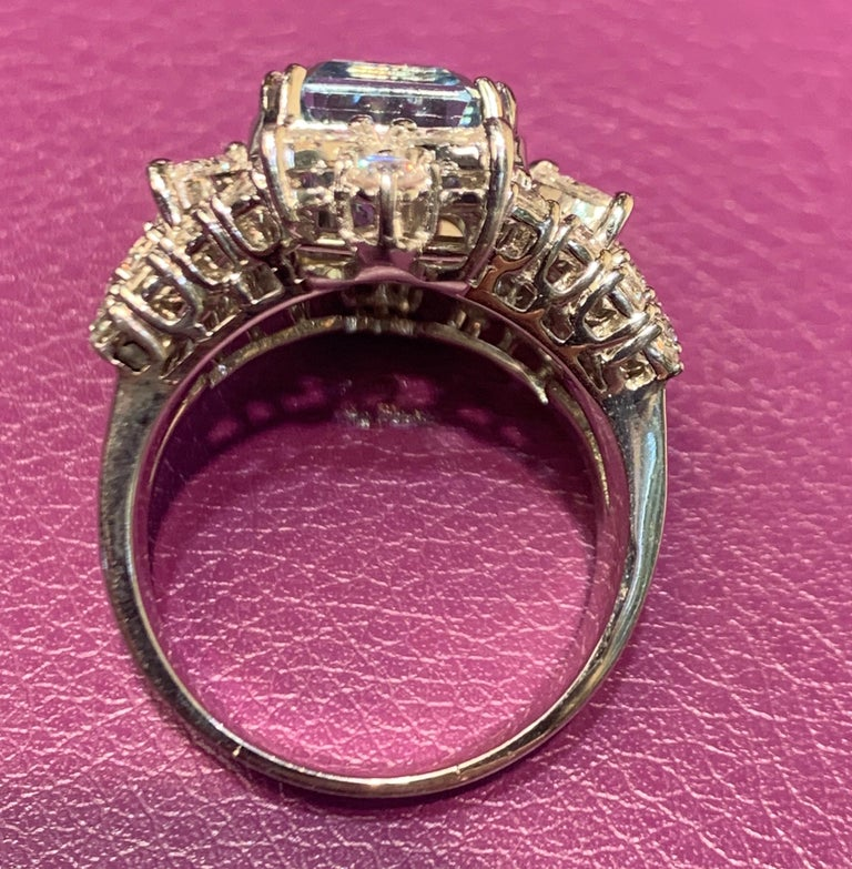 Aquamarine and Diamond Cocktail Ring For Sale 1