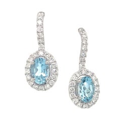 Aquamarine Diamond Drop Earrings 1.22 Carat 14 Karat White Gold