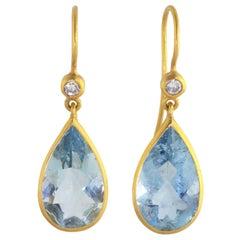 Ico & the Bird Aquamarine Diamond Drop Earrings 22 Karat Gold