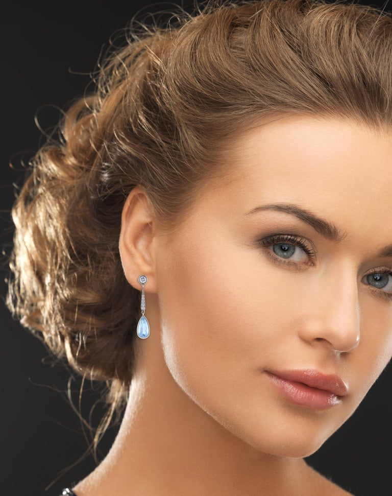 Women's or Men's Aquamarine Diamond Drop Earrings from Pampillonia For Sale