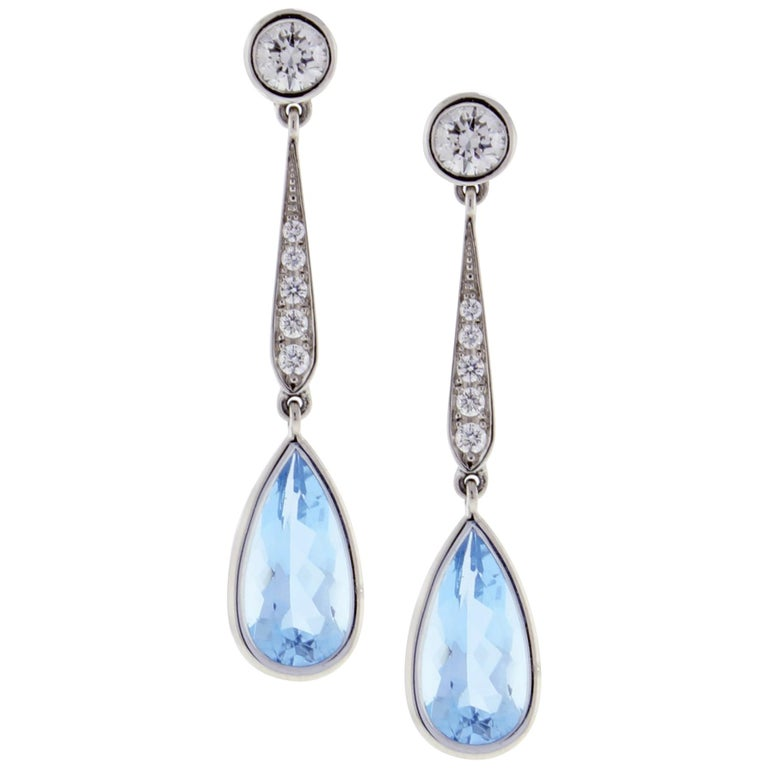 Aquamarine Diamond Drop Earrings from Pampillonia For Sale