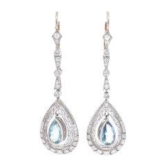 Aquamarine Diamond Drop Earrings Platinum Art Deco Inspired