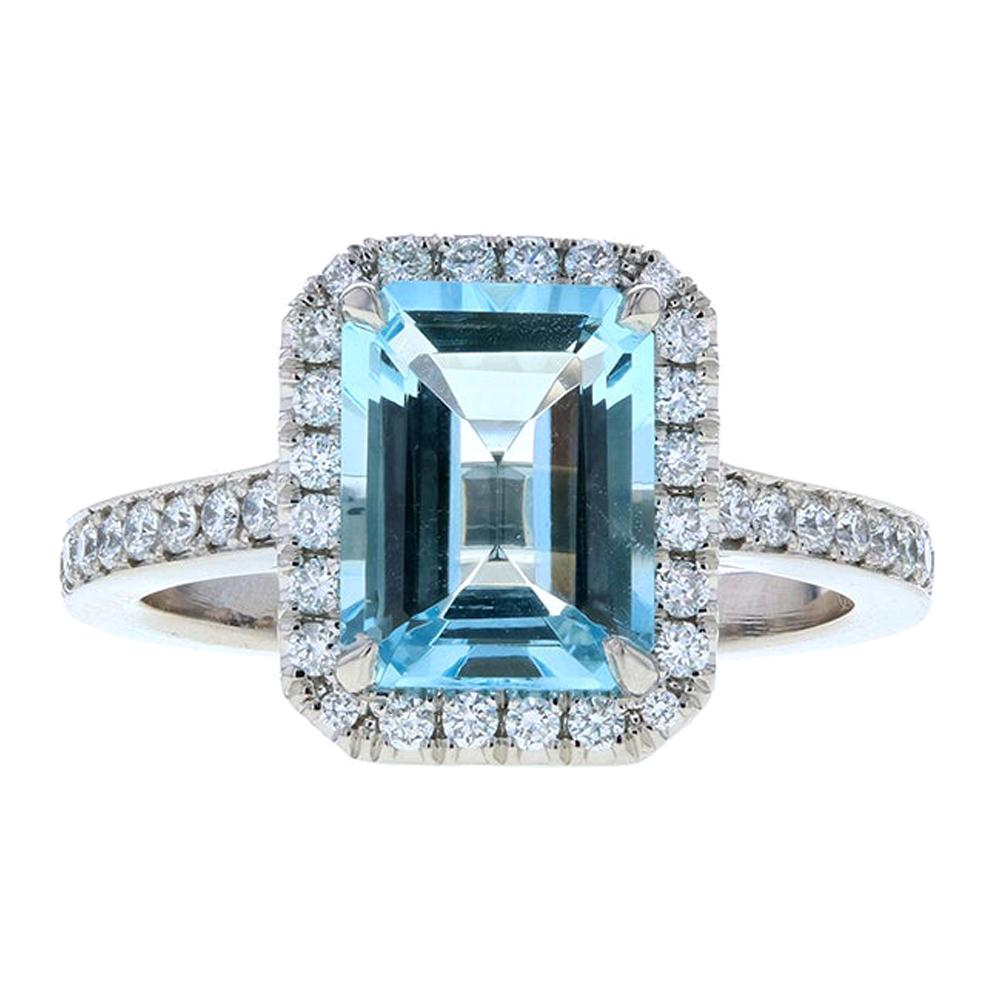 Aquamarine Diamond Engagement Ring with Diamond Halo