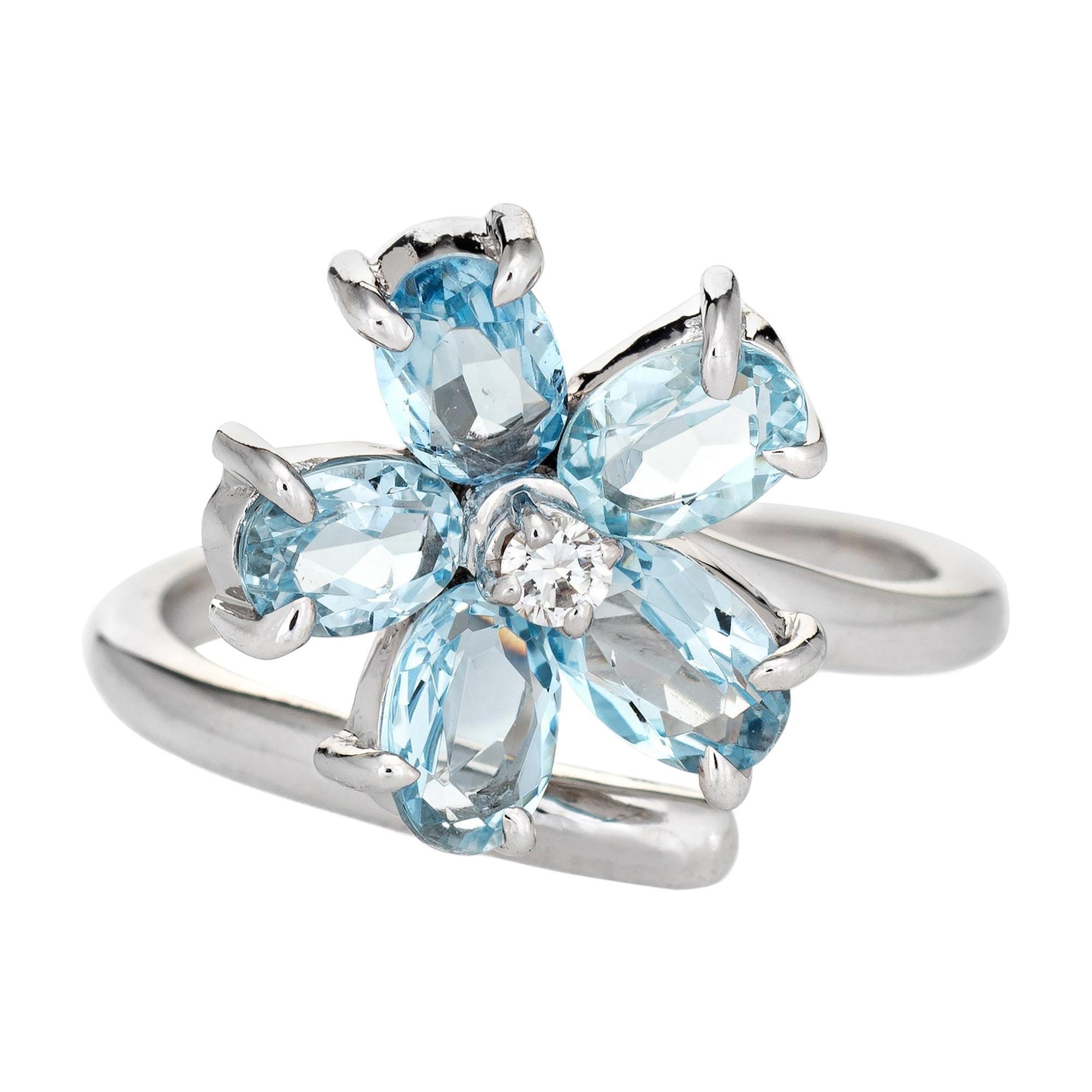 Aquamarine Diamond Flower Ring Estate 14k White Gold Fine Vintage Jewelry