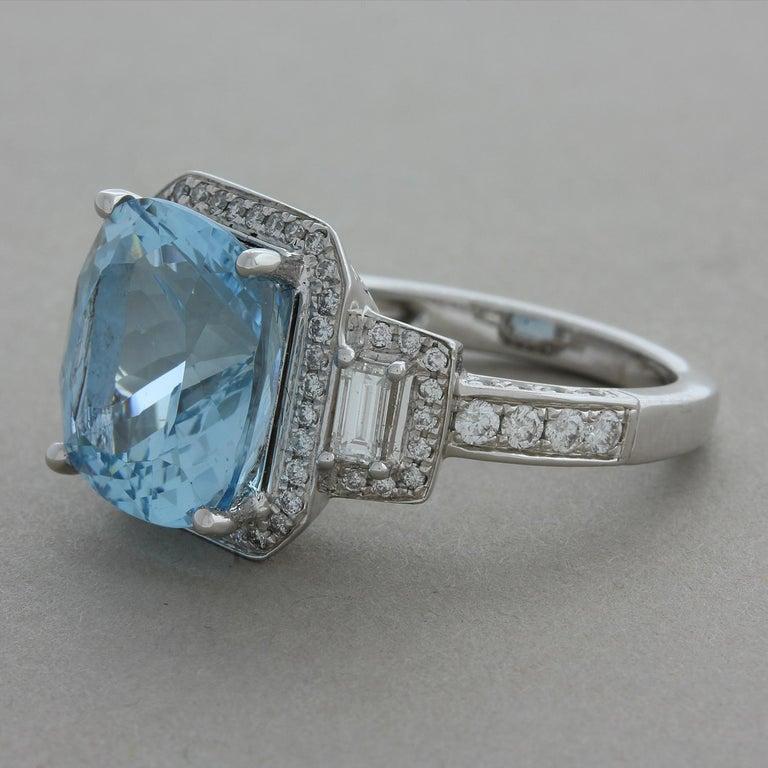 Cushion Cut Aquamarine Diamond Gold Cocktail Ring For Sale