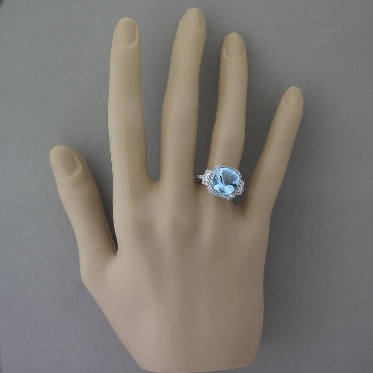 Women's or Men's Aquamarine Diamond Gold Cocktail Ring For Sale