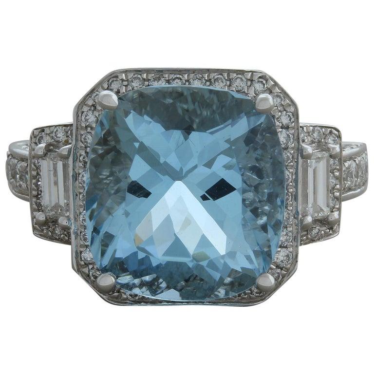 Aquamarine Diamond Gold Cocktail Ring For Sale