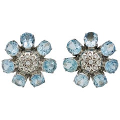 Aquamarine Diamond Gold Flower Ear Clips Earrings