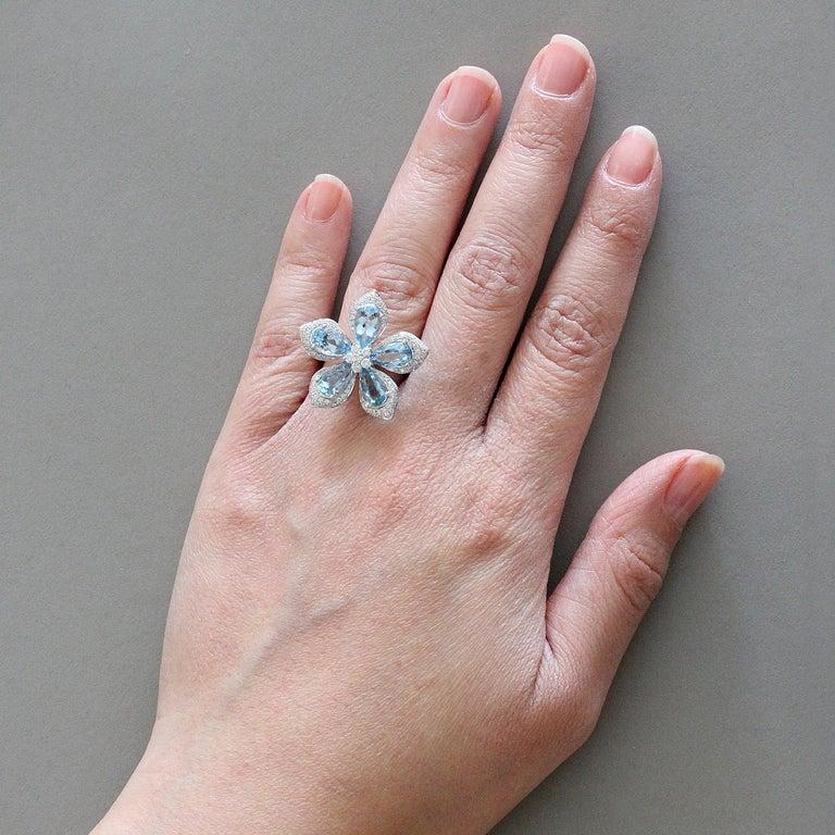 Aquamarine Diamond Gold Lotus Flower Ring For Sale At 1stdibs