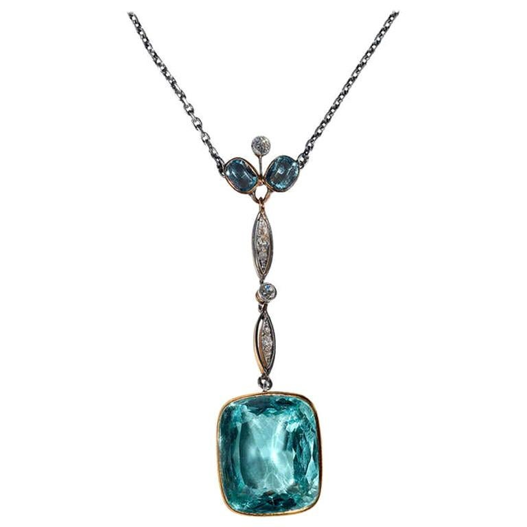 Aquamarine Diamond Gold Platinum Pendant Necklace