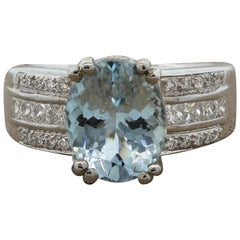 Aquamarine Diamond Gold Ring