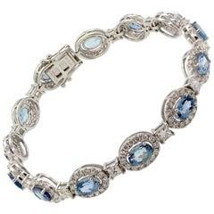 Aquamarine Diamond Gold Tennis Bracelet