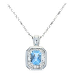 Aquamarine & Diamond Halo Pendant Necklace, 14 Karat Gold Radiant Cut 1.30 Carat