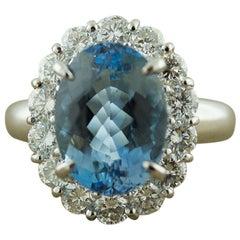 Aquamarine Diamond Halo Platinum Ring